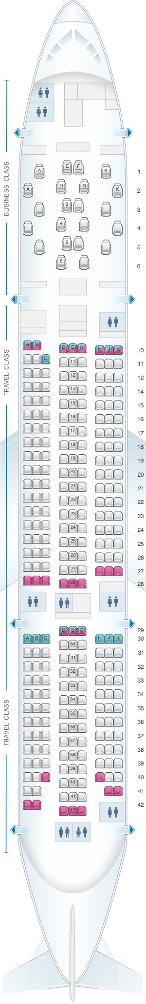 Seat Map Asiana Airlines Boeing B777 200ER 294PAX