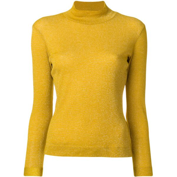 Golden Goose Deluxe Brand Iman turtleneck top (3,980 MXN) ❤ liked on Polyvore featuring tops, yellow, yellow long sleeve top, yellow top, turtleneck top, yellow turtleneck and long sleeve turtleneck
