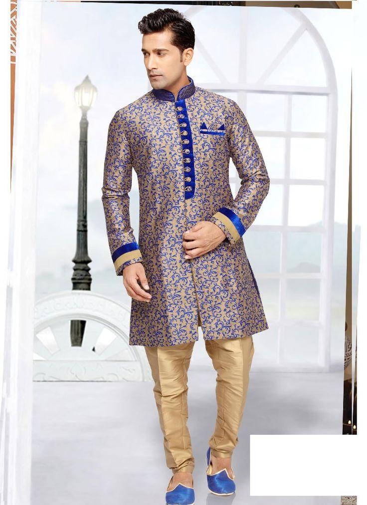 Shop Online Beige Blue Jaquard Art Silk #MensSherwani @Chennaistore.com