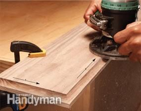 Outside edges—counterclockwise Inside edges—clockwise router tip
