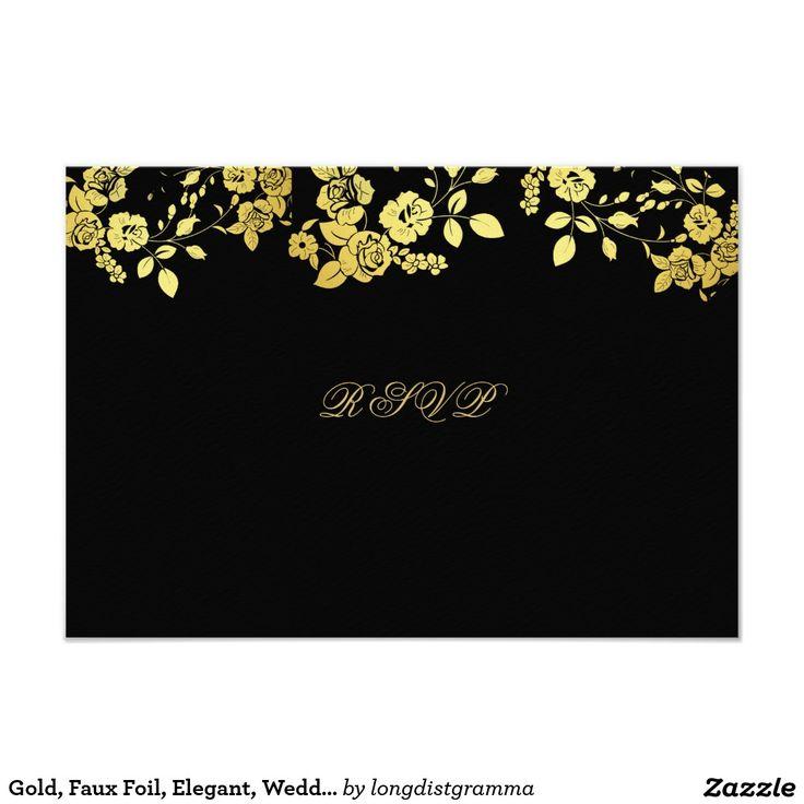 Gold Faux Foil Elegant Wedding RSVP Card