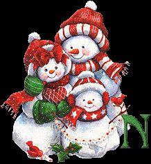 Alfabeto animado de familia de muñecos de nieve.