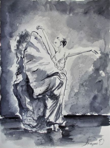 Ballerina - Original ballet watercolor painting