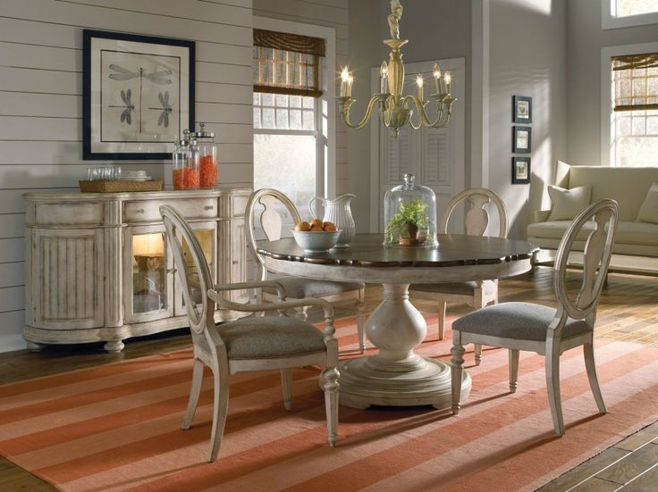 Dining Room Designs: Old Style Cream Dining Set Round Dining Room Tables  Chandelier, Middle Of Room, Dining Table
