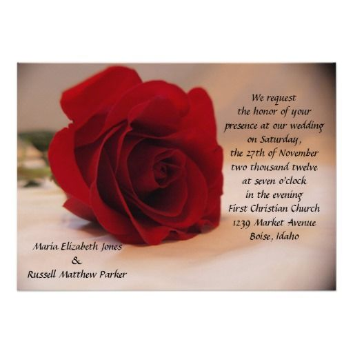 Delightful Elegant Red Rose Wedding Card