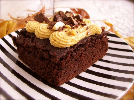 Espresso Brownies with Pumpkin Cream Cheese Frosting (Grain,Sugar, Egg & Starch Free)