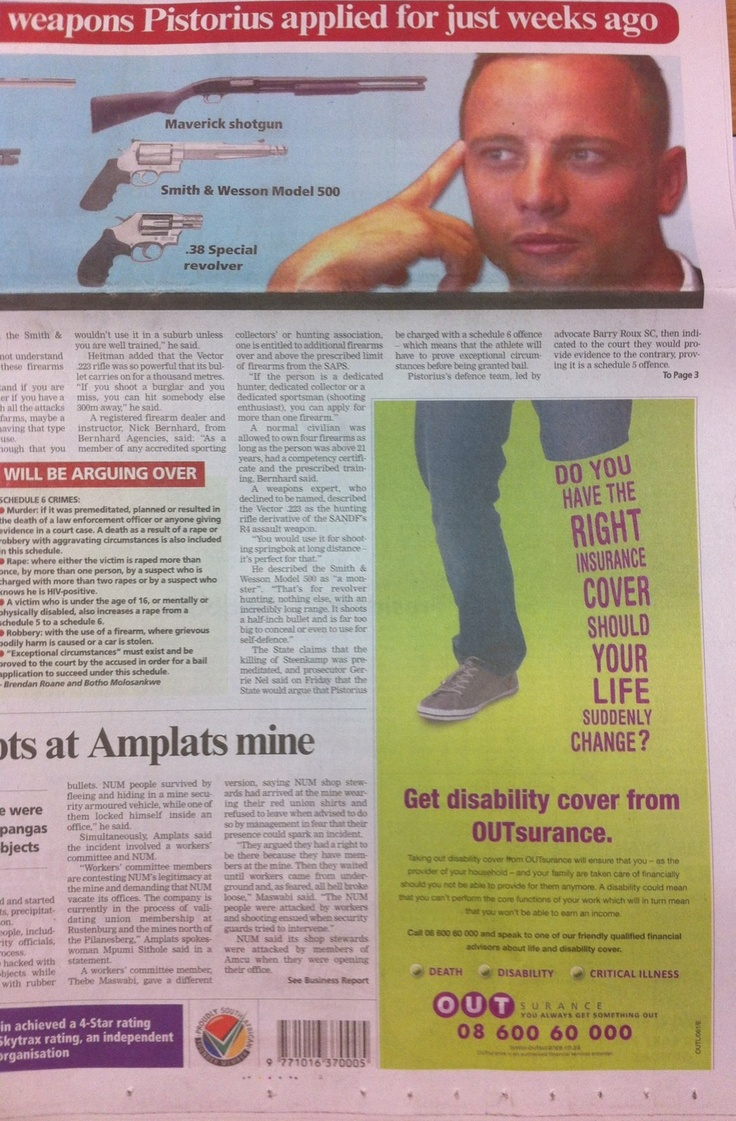 Terrible print advert placement by a South African insurance company - whether intended or accidental   Source: http://twitter.com/gussilber/status/303786983669506048