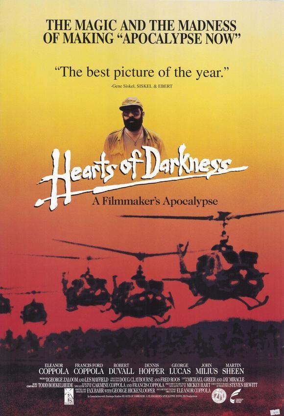 """DVD DOC 270 - The heart of darkness: a filmmaker´s apocalypse (1991) EEUU. Dir: Fax Bahr, George Hickenlooper, Eleanor Coppola. Documental. Sinopse: relato da longa e problemática rodaxe de """"Apocalypse Now"""", a obra mestra de Francis Ford Coppola sobre a guerra de Vietnam. Inclúe abundante material inédito rodado por Eleanor Coppola, a muller do director, cunha cámara de 16 mm. O título alude á novela de Conrad """"Hearts of Darkness"""" (O corazón das tebras), na que se inspira a película"""