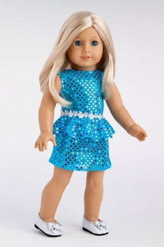 Turquoise sequin holiday party dress with silver ribbon at the waist and matching silver shoes with a bow. - Doll dress contains a wide back closure for easy dressing and clothing removal. - Our doll