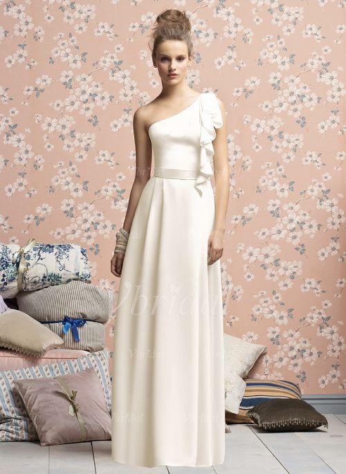 Bruidsmeisjes Jurken - $100.25 - A-Lijn/Prinses Een-Schouder Vloer lengte De Chiffon Bruidsmeisjes Jurk met Ruches (0075057177)