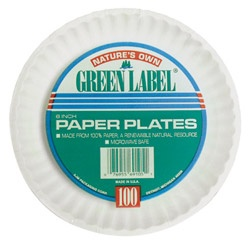 "AJM Green Label™ Disposable 9"" Paper Plates, White, 12 Bags of 100 Plates"