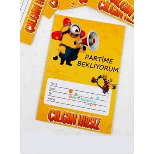 Minions DavetiyeÇılgın Hırsız Davetiye Ürün ÖzellikleriÜrün Paketinde 10 Adet MinionsDavetiye bulunur.Karton Minyon Davetiyeler Kaliteli baskı ve canlı çizimdir.Minions temalı davetiyelerin boyutu9,5 cm ve 14,5 cm'dir.Minionsdavetiyeleri zarfsız gönderilir.Çocuklarınızın doğum günü