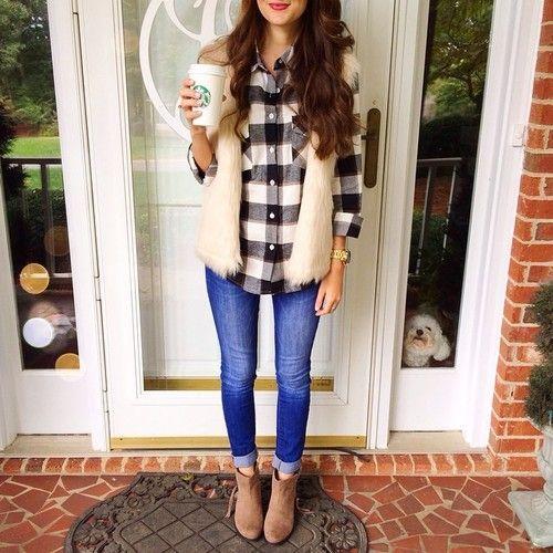 Cute fall look. Fur vest, plaid shirt and denim jeans. Fall fashion ideas 2015.: