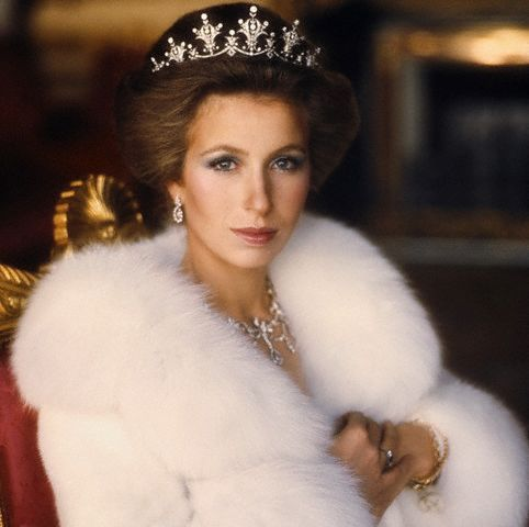 Her Royal Highness Princess Anne wears a white fur coat and crown for  a Vogue photo shoot Nov. 1973