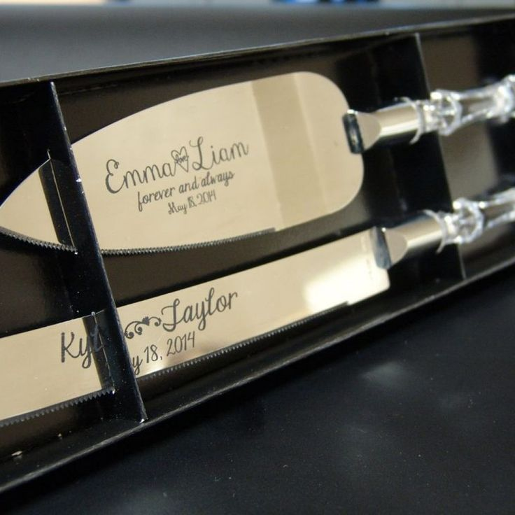 Engraved Cake Serving Set For Weddings And Anniversary Knife Server With Faux Crystal Handles Personalized The Bride Groom