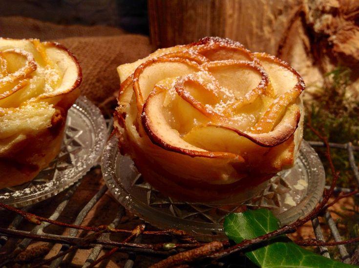 Apfelrose mit Blätterteig und Marzipanfüllung. Dieses Gebäck ist schnell zubereitet. Auch mit Frischkäse oder Marmelade sehr lecker