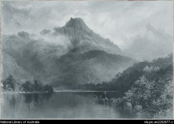 Mount King William from Lake George, Tasmania -- by William Piguenit - Natl Lib of Aus