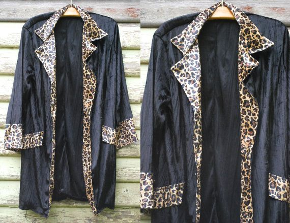 90s Vintage Black Velvet Jacket Leopard Long Length Grunge Goth Coat Smoking Jacket Vtg 1990s Size S-M