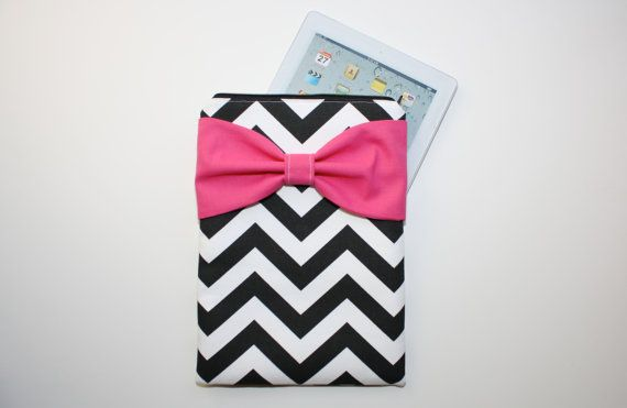 iPad Case - Android - Microsoft Tablet - Black Chevron Hot Pink Bow by AlmquistDesignStudio on Etsy