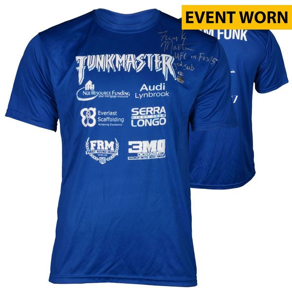 """Aljamain """"The Funk Master"""" Sterling Ultimate Fighting Championship Fanatics Authentic Autographed UFC on FOX Machida vs Rockhold Event-Worn Walkout Shirt with UFC on FOX 3rd Sub Inscription - Defeated Takeya Mizugaki via 3rd Round Submission - $349.99"""