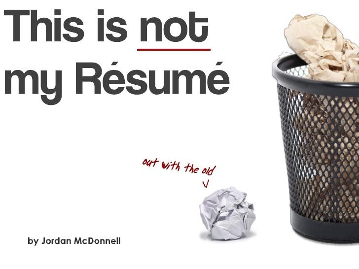 A new type of CV?    by Jordan McDonnell via Slideshare