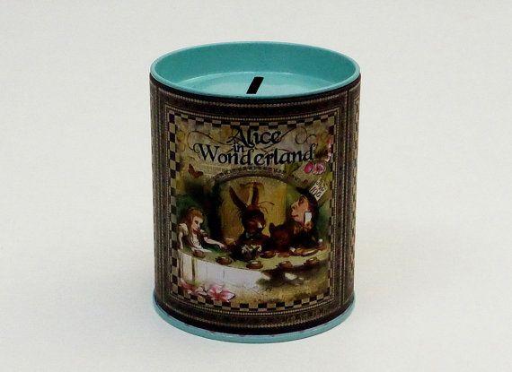 Alice in Wonderland Tin Money Box.Money Box.Money Tin.Tin