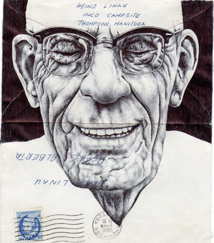 Mark Powell è un artista inglese che disegna ritratti di persone anziane e animali su buste d'epoca, mappe e altri documenti cartacei.