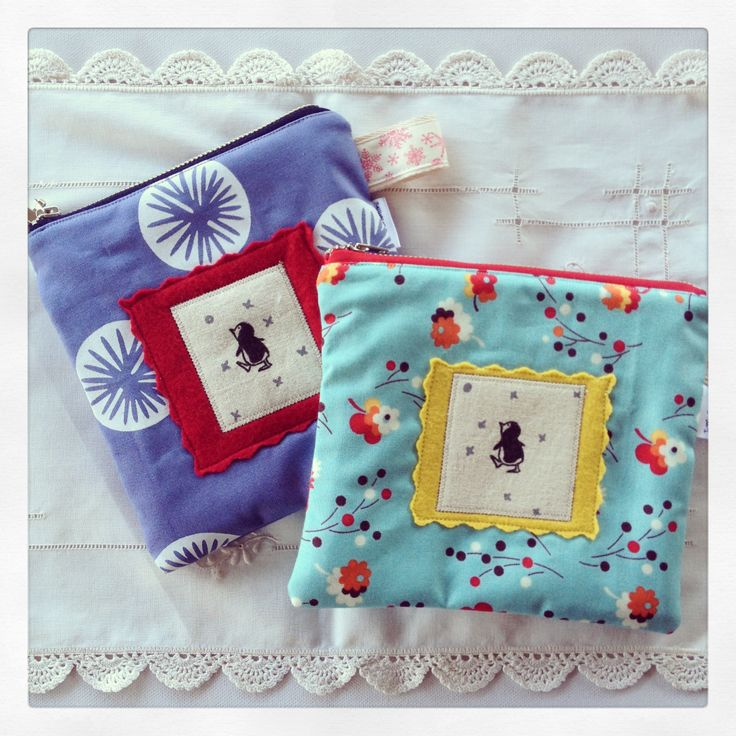 Zip pouch - with hand stamped & wool felt appliqué - www.facebook.com/jumicreations