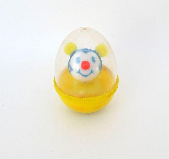 SALE Vintage Hard Plastic Mouse Rattle Toy Weeble by teresatudor