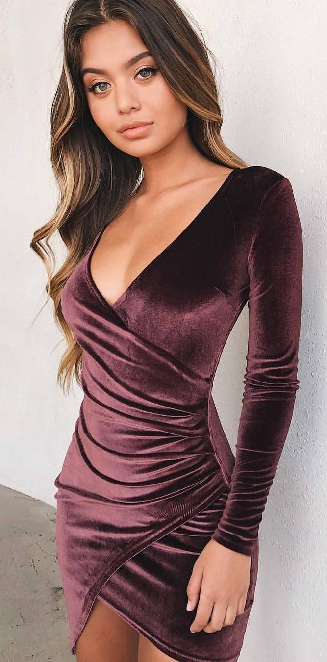 #spring #fashion Purple Velvet Wrap Dress