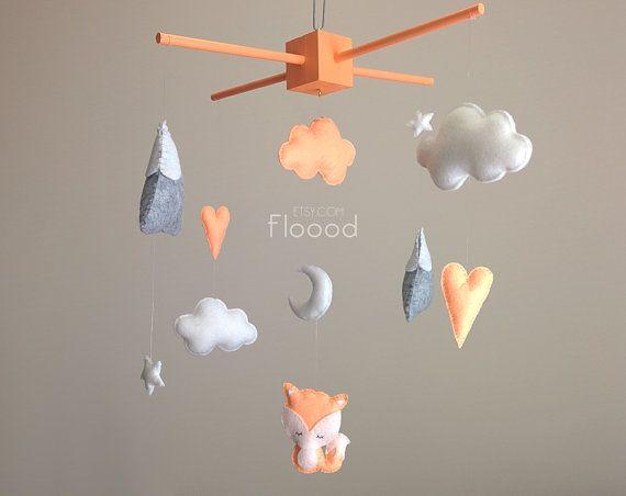 Fox Baby Mobile, Modern Nursery Decor, Hearts Baby Nursery Mobile, Felt Baby Mobile- Cot/ Crib Mobile - Peach/ Orange Nursery Decor