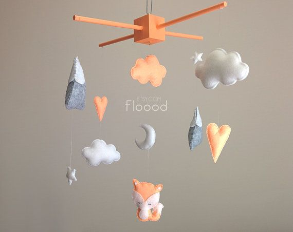 Fox Baby Mobile, Modern Nursery Decor, Hearts Baby Nursery Mobile, Felt Baby Mobile- Cot/ Crib Mobile - Peach/ Orange Nursery Decor