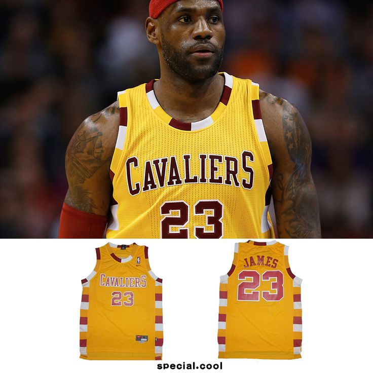 CHEAP #23 Lebron James Cleveland Cavaliers Retro Yellow Basketball LBJ Jerseys