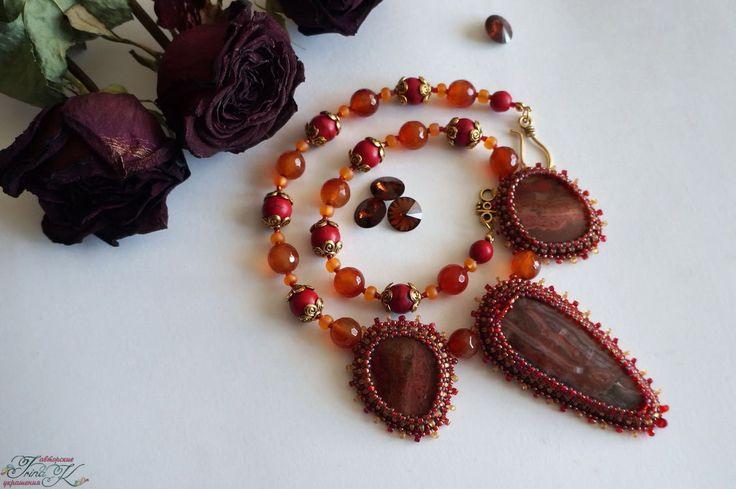 Купить Колье с натуральными камнями Осенний поцелуй. Агаты, переливт - украшения ручной работы