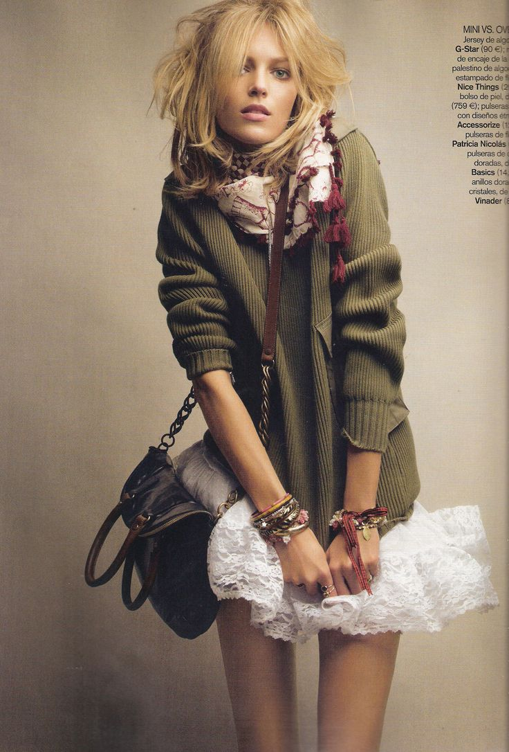 Anja in knits and tulle: Anjarubik, Sweaters, Fashion, Vogue Spain, Style, Skirts, Patrick'S Demarch, Anja Rubik, Chunky Knits