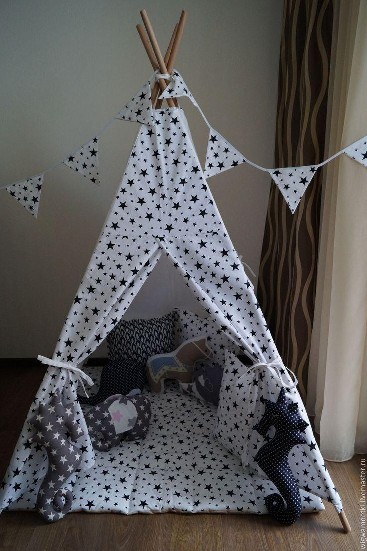 """Купить Вигвам """"Чёрные звёзды на белом"""" - хлопок 100%, домик, вигвам, детский домик"""