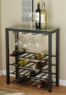 Black Metal Wine Bar Cart Glass Top Beverage Table With 4