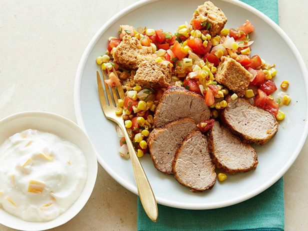 Pork Tenderloin with Corn Panzanella Salad and Yogurt with Mango #myplate #letsmove #grains #protein #veggies #dairyFood Network, Panzanella Salad, Corn Panzanella, Pork Recipe, Foodnetwork Com, Network Kitchens, Pork Tenderloins, Mango Recipes, Food Drinks