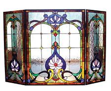 Decorative Fireplace Screens Victorian Stained Glass Tiffany Style Three Panel