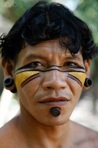Brazil | Portrait of a Pataxo Indian man at the Reserva Indigena da Jaqueira near Porto Seguro, Bahi | © Yadid Levy