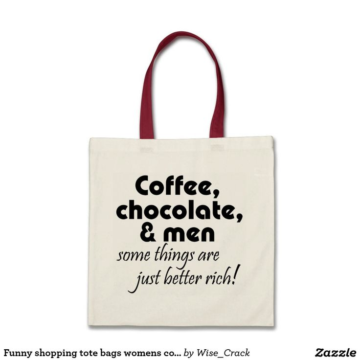Funny shopping tote bags womens coffee joke gifts