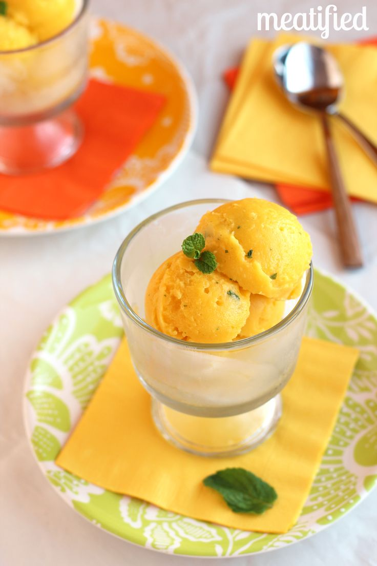 Mango Sorbet with Mint - ready in about a minute! http://meatified.com #paleo #glutenfree #vegetarian #vegan #aip