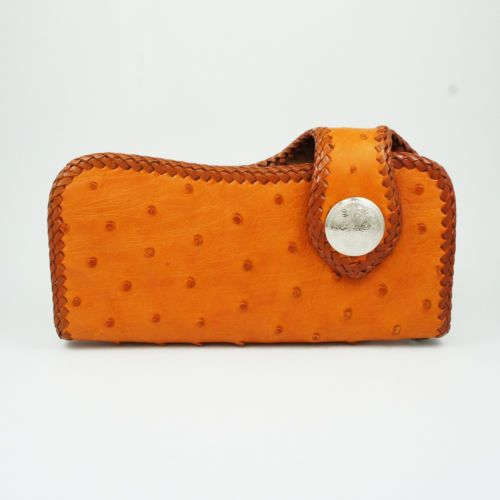 ORANGE COLOR OSTRICH LEATHER HANDCRAFTED Men's BIKER BIFOLD LONG WALLET hcw-4