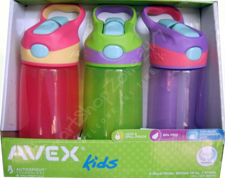 3 x AVEX Kids Water Drink Bottle Spill Leak Proof BPA free AUTOSPOUT 414 ml NEW