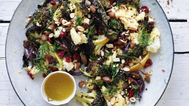 Roast broccoli with ricotta and lemon