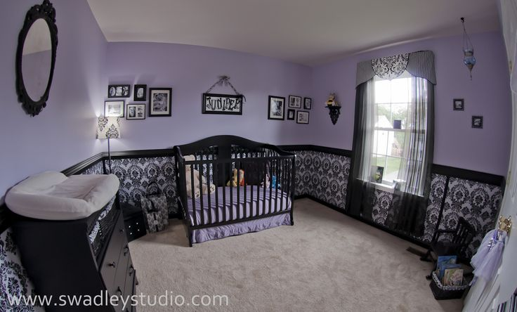 purple girl nursery | Juniper's Nurseryfeaturing wallcovering by Blue Sphere Painting ...