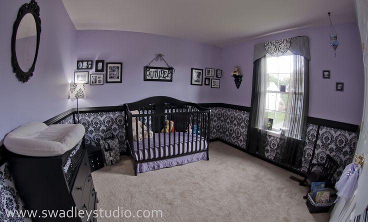 purple girl nursery | Juniper's Nurseryfeaturing wallcovering by Blue Sphere Painting ...