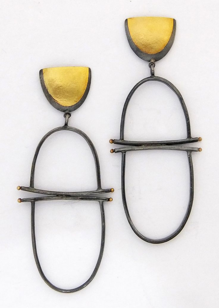 Girona Earrings: Sydney Lynch: Gold Silver Earrings | Artful Home