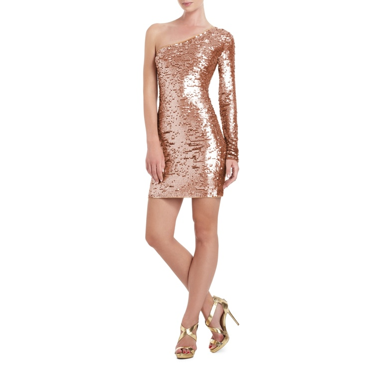 BCBGMAXAZRIA - DRESSES: BODY-CON: LYN ONE-SHOULDER SEQUINED COCKTAIL DRESS