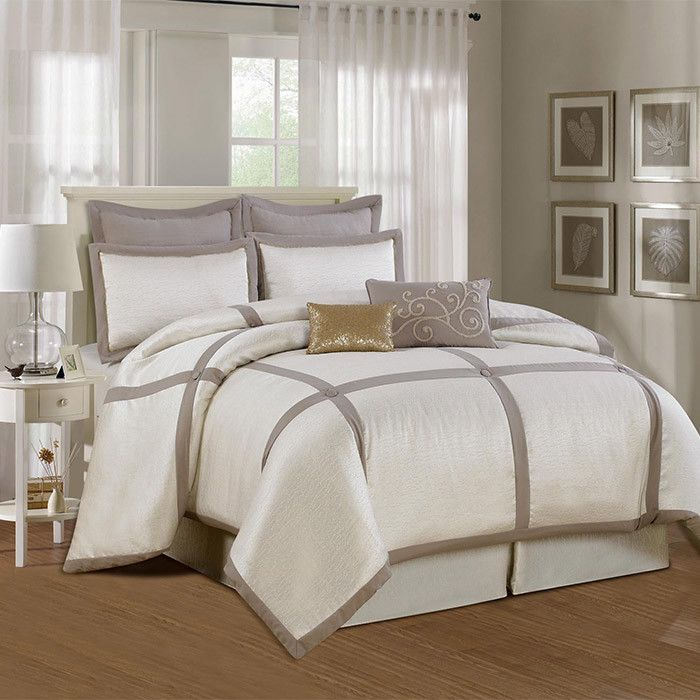 8 piece waterford comforter set in gray white and gold home decor pinterest colors. Black Bedroom Furniture Sets. Home Design Ideas